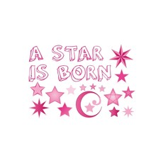 Raamsticker geboorte a star is born roze meisjes