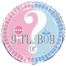 Girl or Boy gender reveal folieballon 45cm