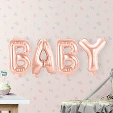 Set Rosé Goudkleurige Folieballonnen 'BABY'
