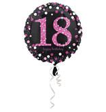 FolieBallon 18 jaar happy birthday sparkling pink 43cm