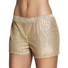Hotpants pailletten goud