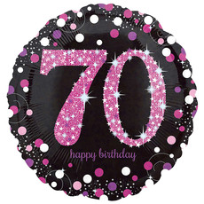 FolieBallon 70 jaar happy birthday sparkling pink 43cm