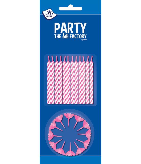 Taartkaarsjes 24 stuks + houders roze 12 stuks