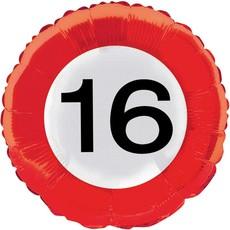 16 jaar verkeersbord folieballon - 46 cm