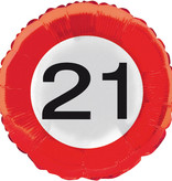 21 jaar verkeersbord folieballon - 46 cm