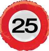 25 Jaar Verkeersbord Helium Ballon - 46 cm