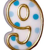 Cijferkaars Blauw 9 gespikkeld