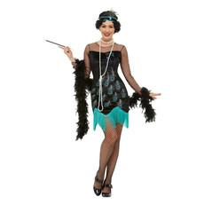 Jaren 20 flapper kostuum pauw