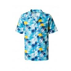 Blauwe Tropische Blouse Palmboom