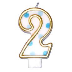 Cijferkaars gespikkeld blauw '2'