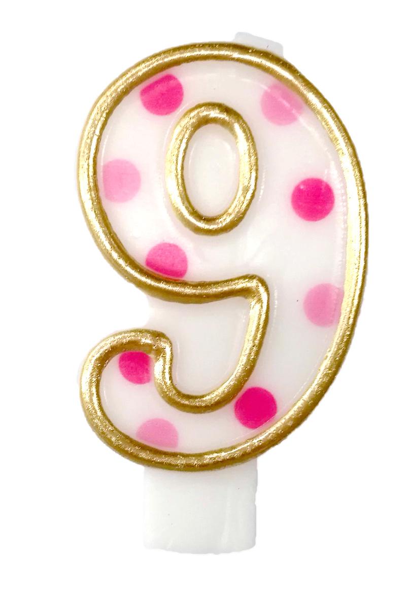 Cijferkaars '9' gespikkeld roze
