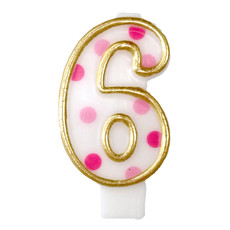 Cijferkaars roze '6' gespikkeld