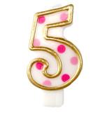 Cijferkaars roze '5' gespikkeld