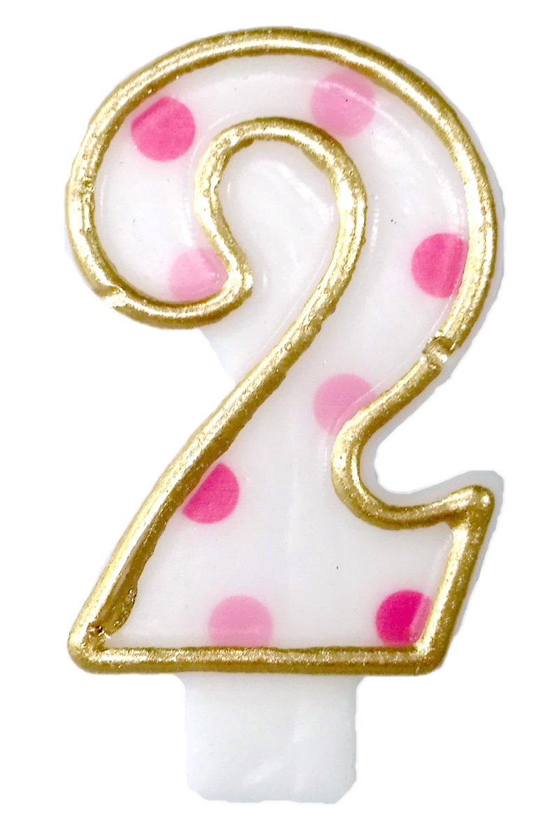 Cijferkaars roze '2' gespikkeld