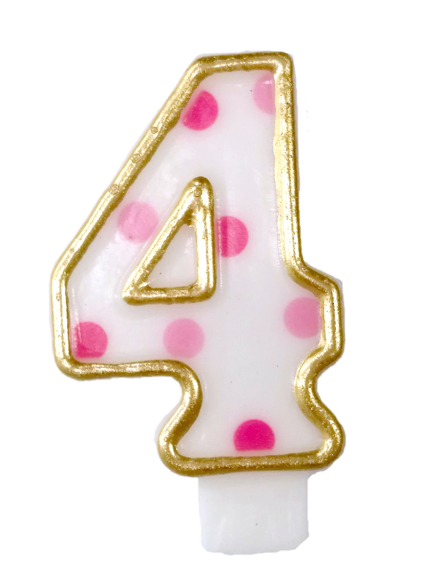 Cijferkaars roze '4' gespikkeld