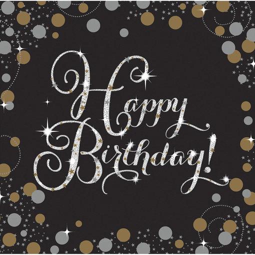 Servetten Happy Birthday Sparkling Gold