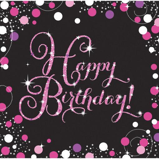 Servetten Happy Birthday Sparkling Pink