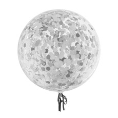 Bubbel ballon met zilveren confetti