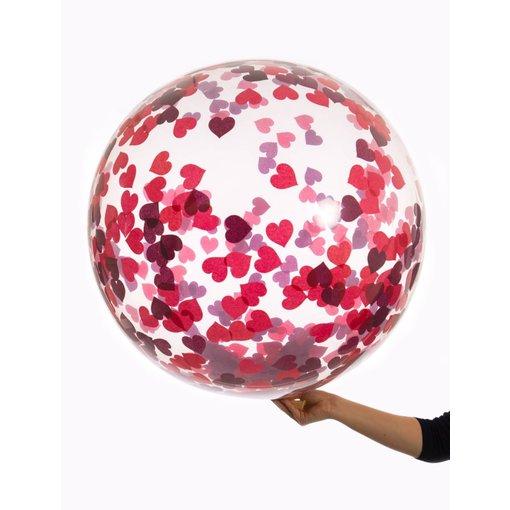 Bubbel ballon met rode hartjes confetti