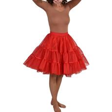 Petticoat midden lang rood met elastiek luxe