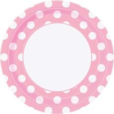 Feestbordjes Roze Met Stippen - 8 Stuks