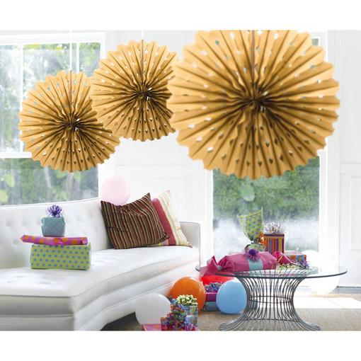 Gouden Honeycomb Waaier - 45cm