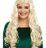 Middeleeuwse Pruik Blond Dame