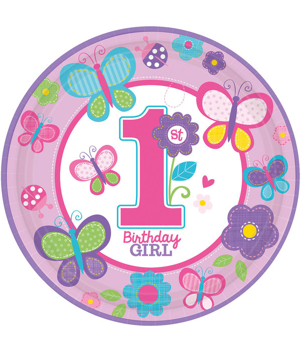 Feestbordjes Birthday Girl 1 Jaar - 8 Stuks
