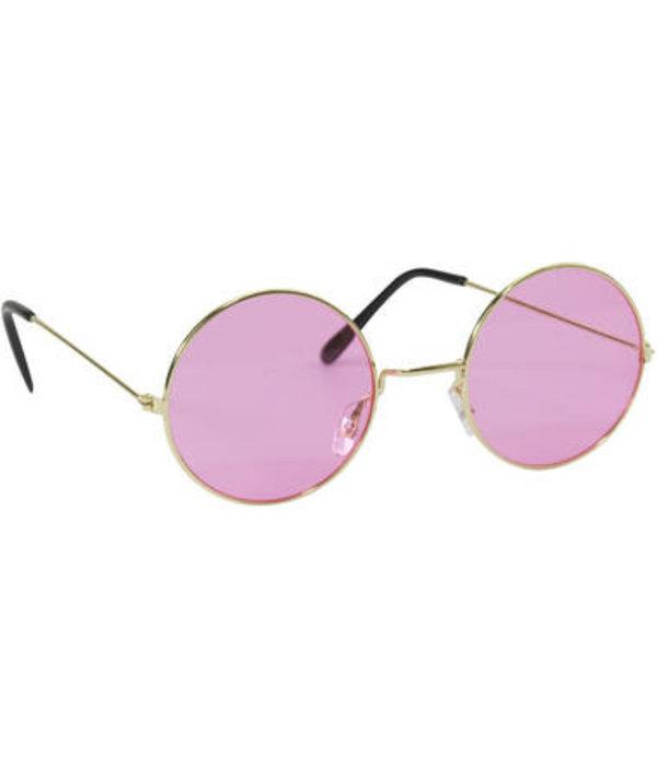 Roze Hippie Bril Met Gouden Frame