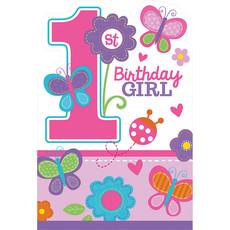 1 Jaar Birthday Girl Uitnodigingen - 8 Stuks
