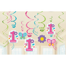 Swirls Decoratie 1 Jaar Birthday Girl - 12 Stuks