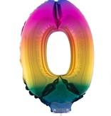 Folieballon Cijfer 0 Regenboog - 41cm