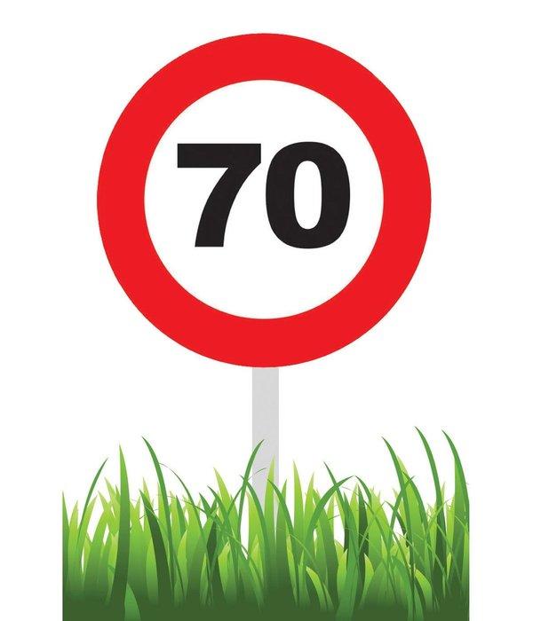 Verkeersbord 70 jaar tuin 36cm