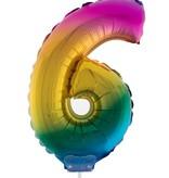 Folieballon Cijfer 6 Regenboog - 41cm