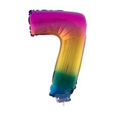 Folieballon Cijfer 7 Regenboog - 41cm