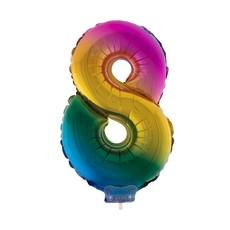Folieballon Cijfer 8 Regenboog - 41cm