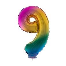 Folieballon Cijfer 9 Regenboog - 41cm