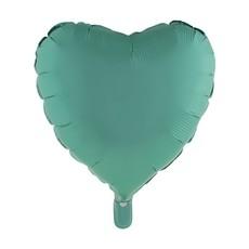 Folieballon Hart Chroom Groen - 46cm