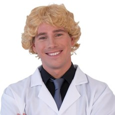 Pruik Heren Krul Blond