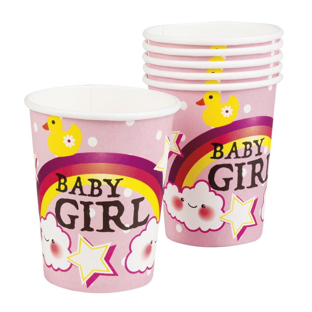 Bekers Geboorte Meisje - 6 Stuks