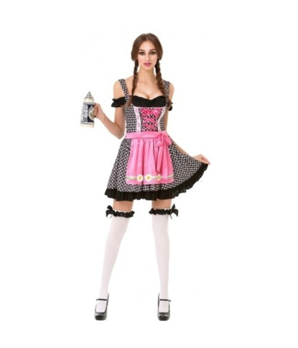 Oktoberfest Dirndl Jurk Zwart/Roze