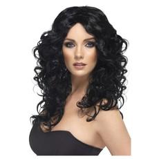 Glamour pruik lang zwart Curly