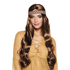 Pruik Harmony bruin met hoofdband