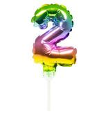 Folieballon Taart Topper Regenboog Cijfer 2 - 13 cm