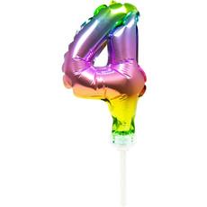Folieballon Taart Topper Regenboog Cijfer 4 - 13 cm