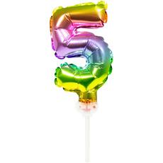 Folieballon Taart Topper Regenboog Cijfer 5 - 13 cm
