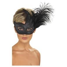 Oogmasker Venetië Zwart met veren