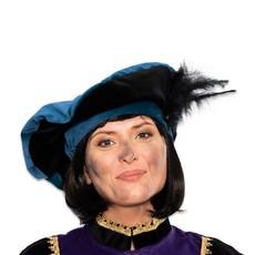 Pietbaret fluweel met veer blauw/zwart