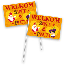 Sinterklaas zwaaivlaggetjes Sint en Piet