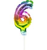 Folieballon Taart Topper Regenboog Cijfer 6 - 13 cm